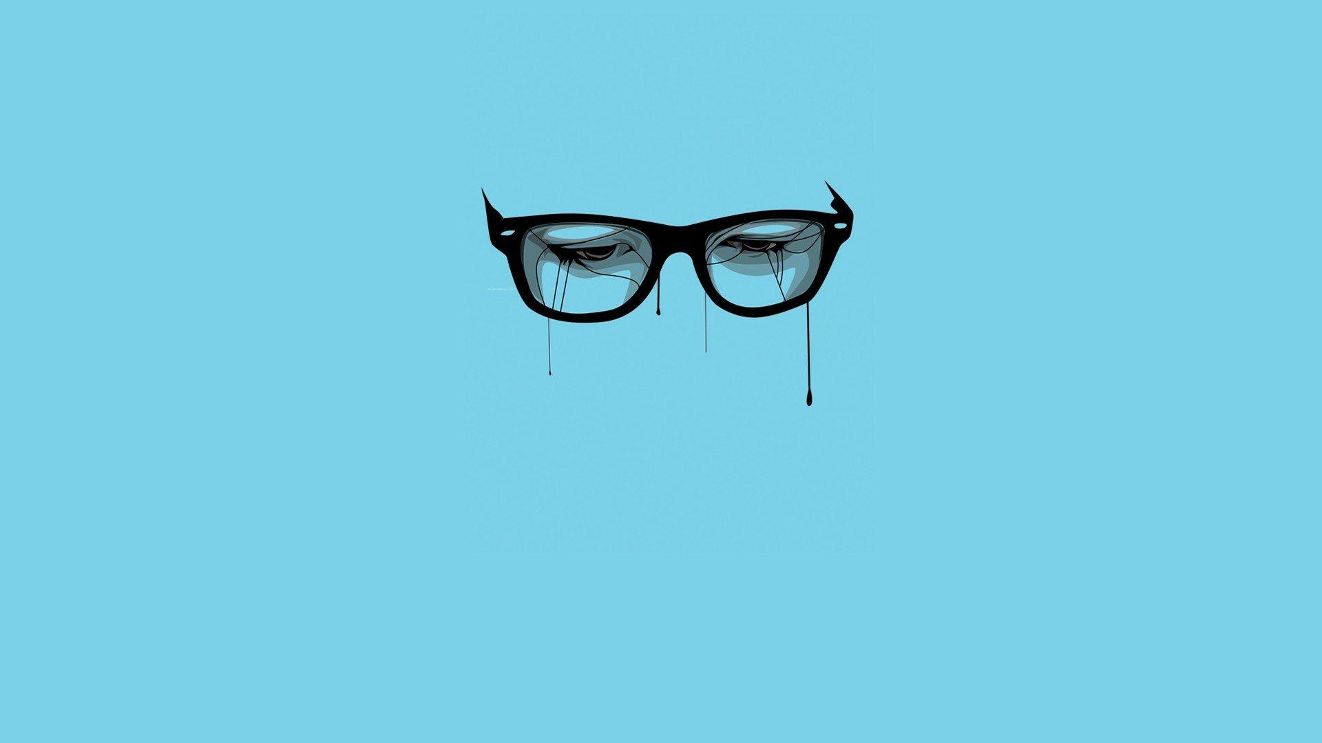Minimalistic Glasses Breaking Bad Blue Background