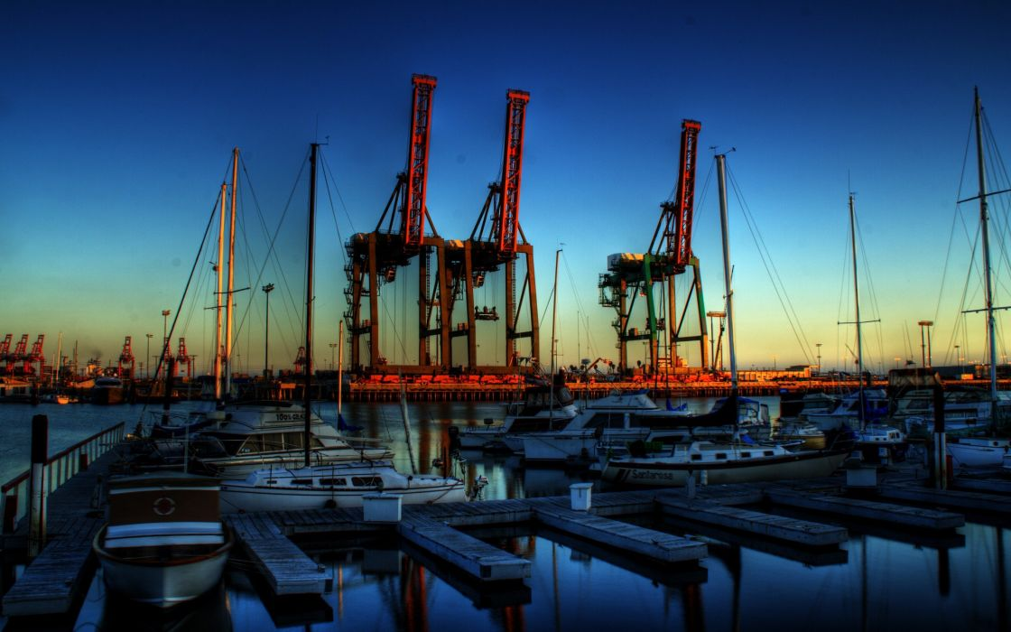 monsters night Los Angeles cranes the port wallpaper