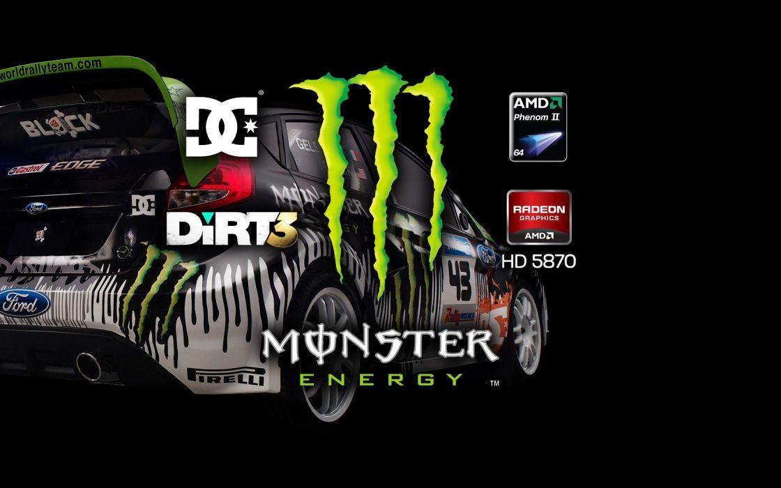 video games cars Ken Block ATI Radeon Codemasters AMD Dirt 3 Monster Energy Dirt video game Colin McRae wallpaper