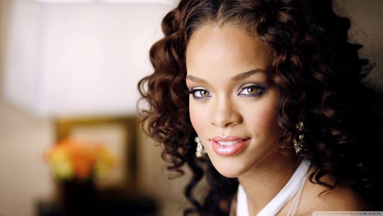 Women Black People Rihanna Curly Hair Faces Wallpaper