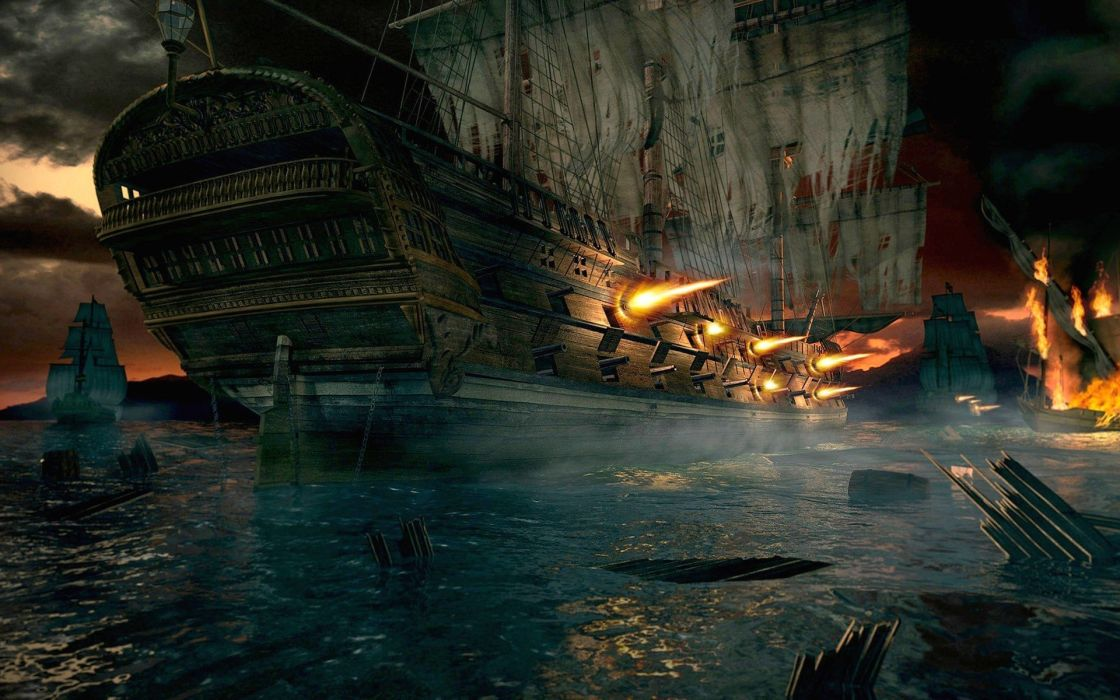 fantasy ships pirates fantasy art Cannonball wallpaper