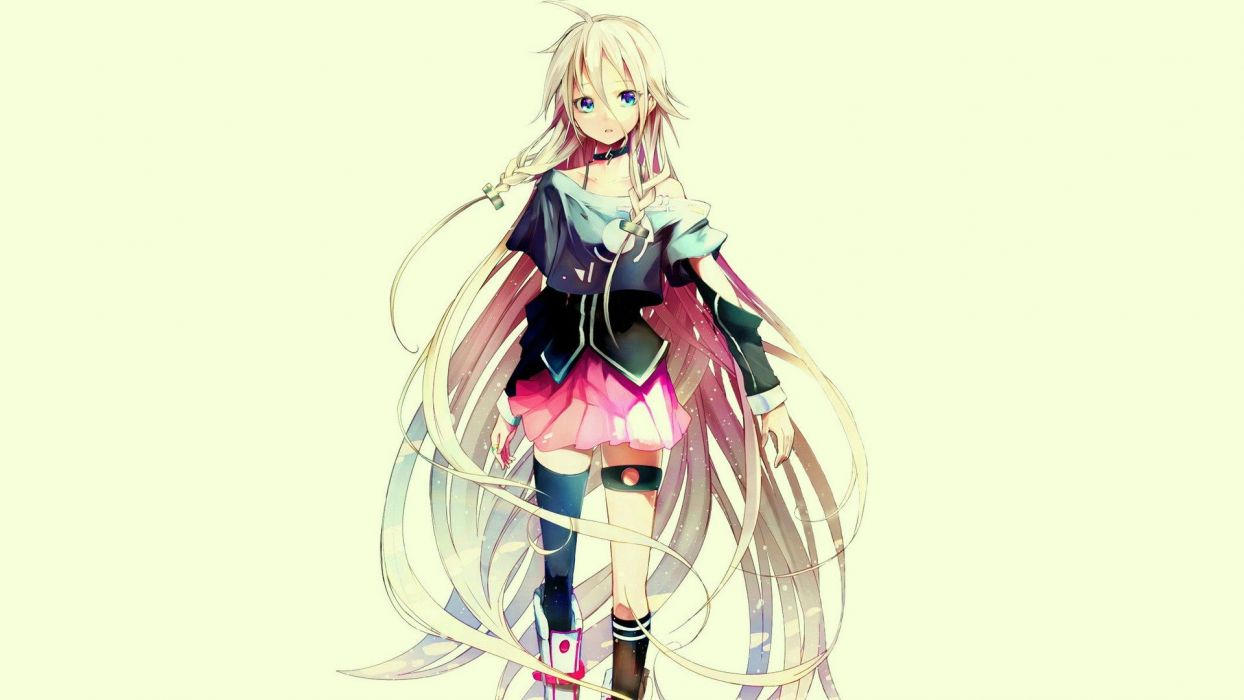 boots Vocaloid blue eyes skirts long hair thigh highs open mouth braids white hair ahoge choker simple background anime girls detached sleeves hair ornaments garters knee socks wallpaper