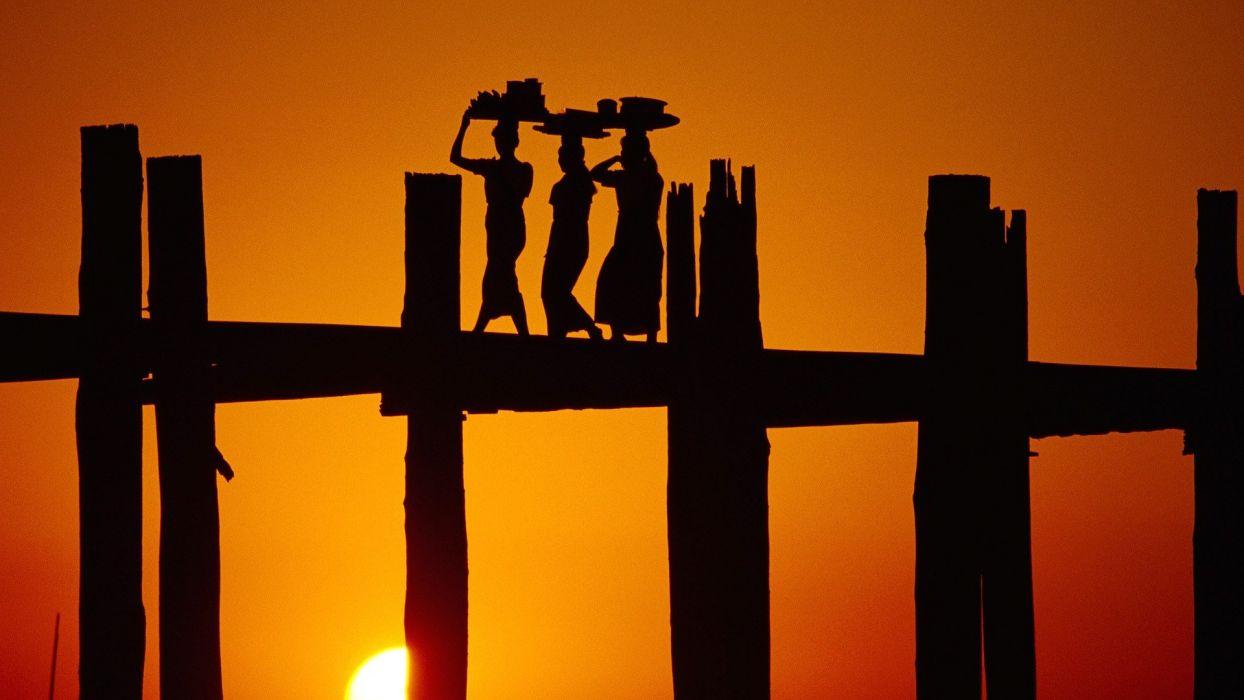 women sunset silhouettes bridges wallpaper