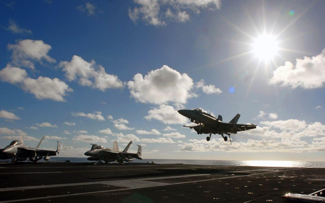 aircraft military vehicles aircraft carriers F-18 Hornet wallpaper