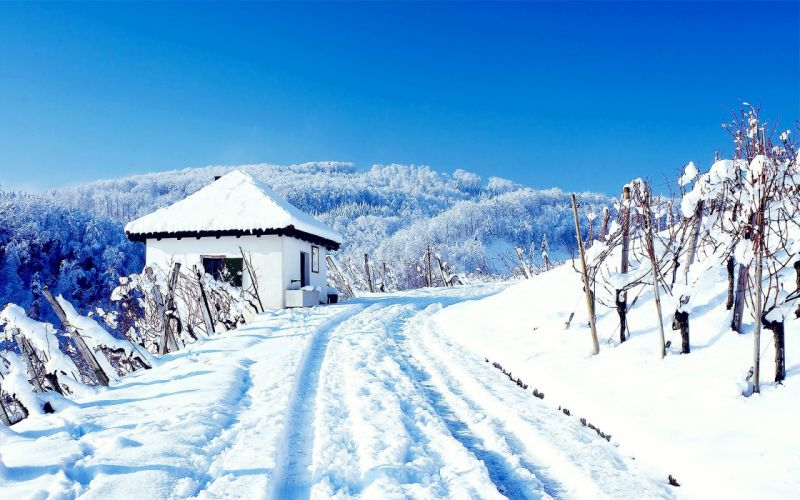 landscapes nature winter snow skylines houses roads wallpaper