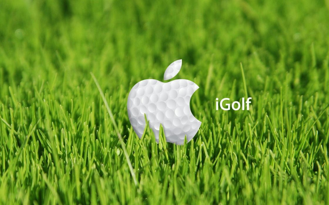 green white Apple Inc_ grass golf brands logos wallpaper