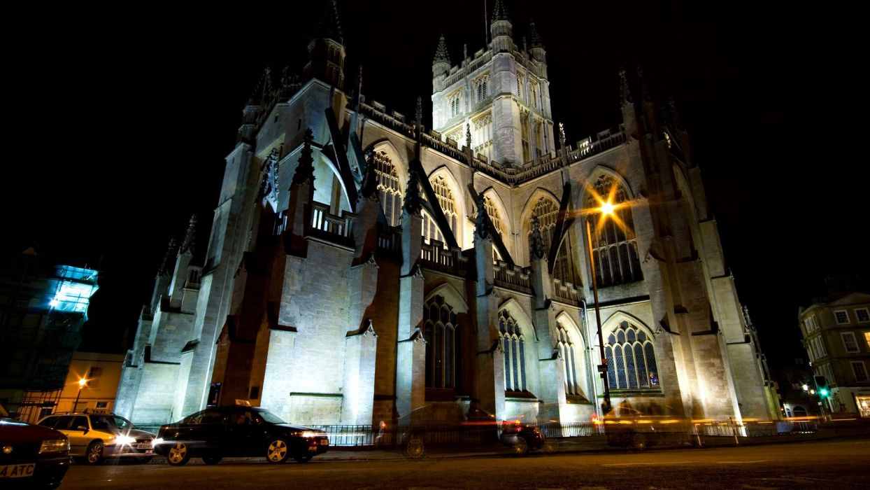 Cityscapes Night Architecture Gothic Towns Churches Wallpaper