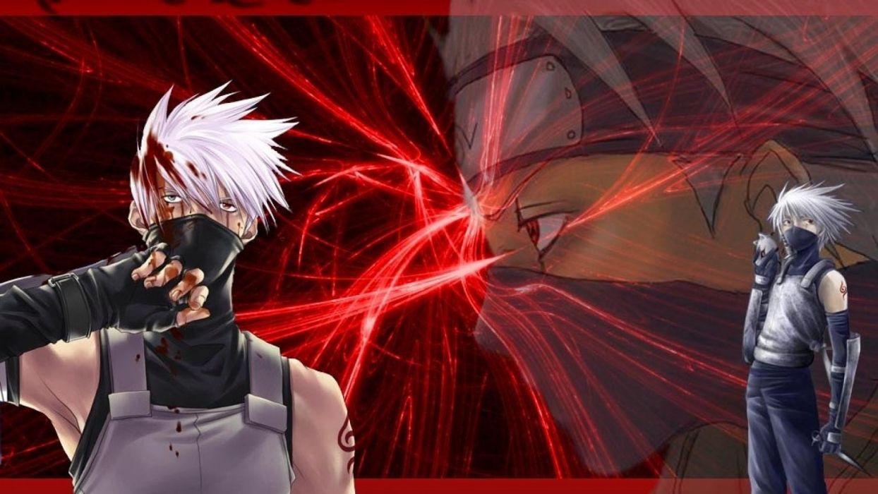 blood Naruto: Shippuden Sharingan anime manga Kakashi Hatake upscaled wallpaper