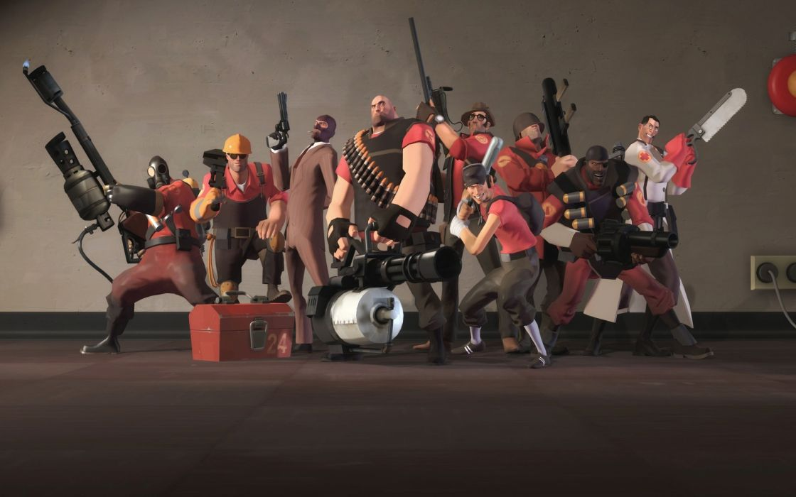 video games Heavy TF2 Engineer TF2 Pyro TF2 Spy TF2 Scout TF2 Medic TF2 weapons Demoman TF2 Team Fortress 2 artwork minigun Soldier TF2 Sniper TF2 wallpaper