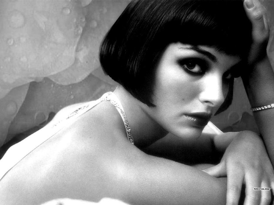 women Natalie Portman grayscale bangs wallpaper