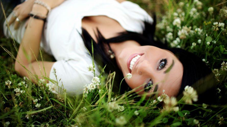 women flowers grass pierced nose black hair wallpaper