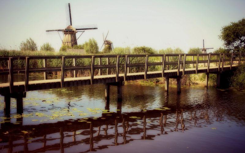 windmills rivers wallpaper