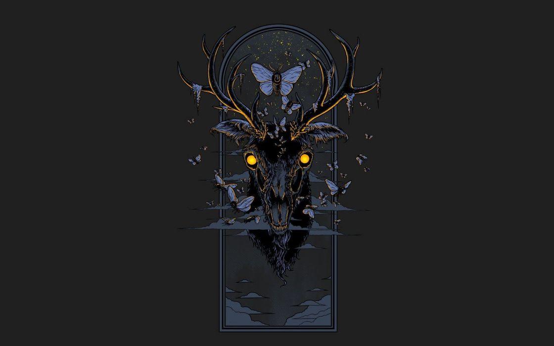 Minimalistic Deer Artwork Black Background Butterflies Wallpaper