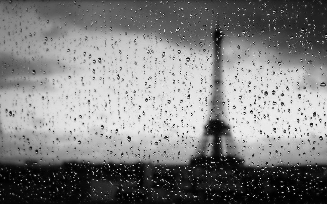 Eiffel Tower rain glass wet condensation depth of field rain on glass wallpaper