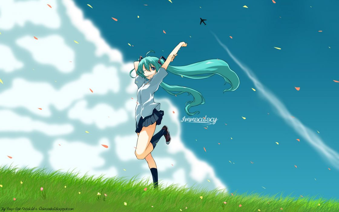 Vocaloid Hatsune Miku skirts anime girls wallpaper