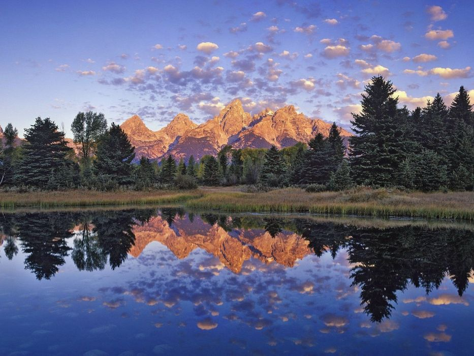 mountains clouds nature trees lakes reflections wallpaper