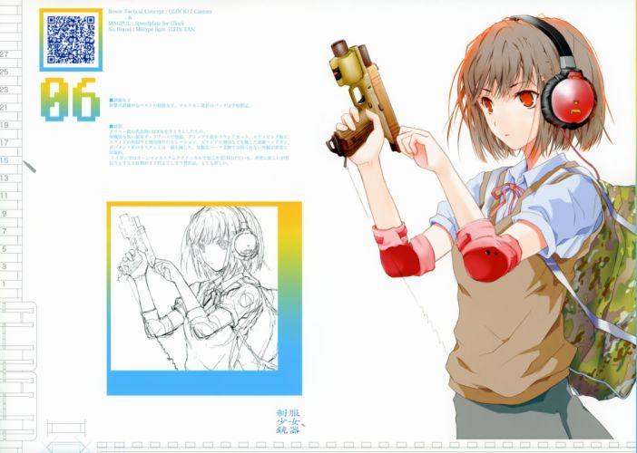 headphones guns school uniforms girls with guns Fuyuno Haruaki wallpaper