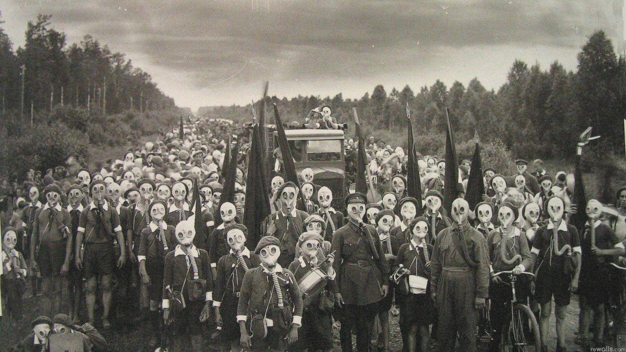 Soviet Gas Masks World War Children Wallpaper