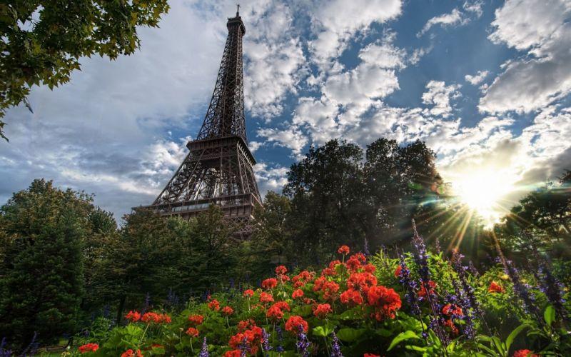 Eiffel Tower Paris nature trees flowers France sunlight cities skies wallpaper