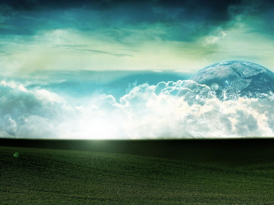 clouds landscapes grass Earth wallpaper