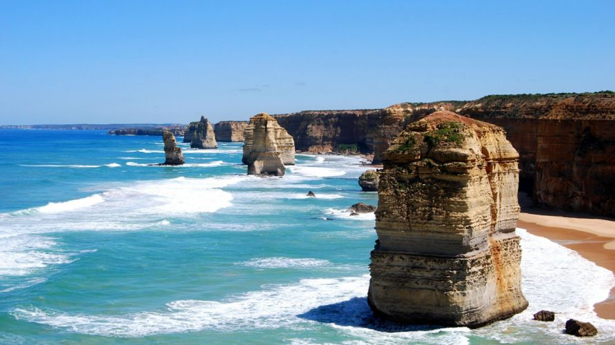 ocean cliffs Australia beaches wallpaper