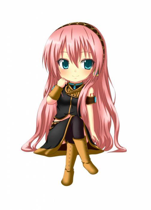 Vocaloid Megurine Luka chibi long hair pink hair aqua eyes ...