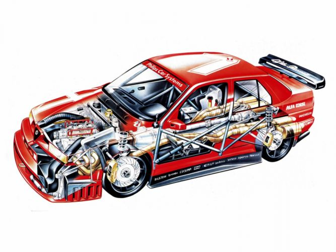 1993 Alfa Romeo 155 V-6 T-I DTM (SE052) race racing interior engine f wallpaper