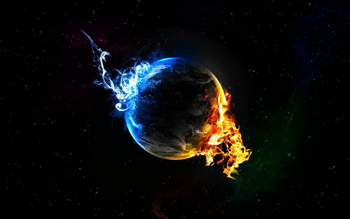 water outer space planets fire Earth elements black background wallpaper
