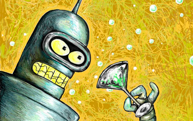 Futurama Bender robots artwork wallpaper