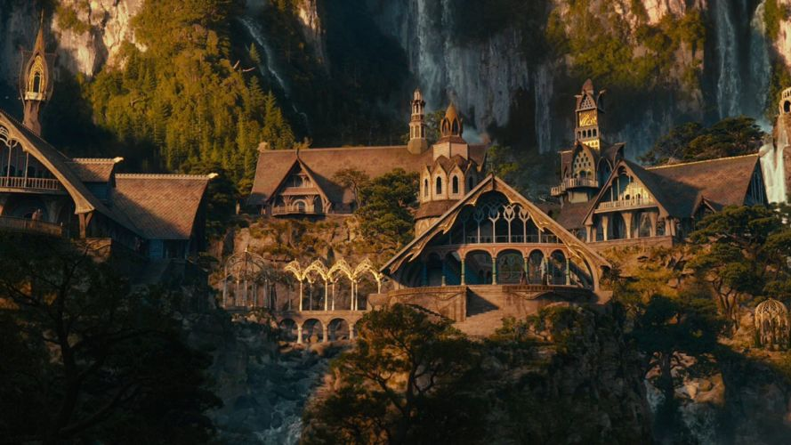 movies houses The Hobbit fictional landscapes Rivendell wallpaper