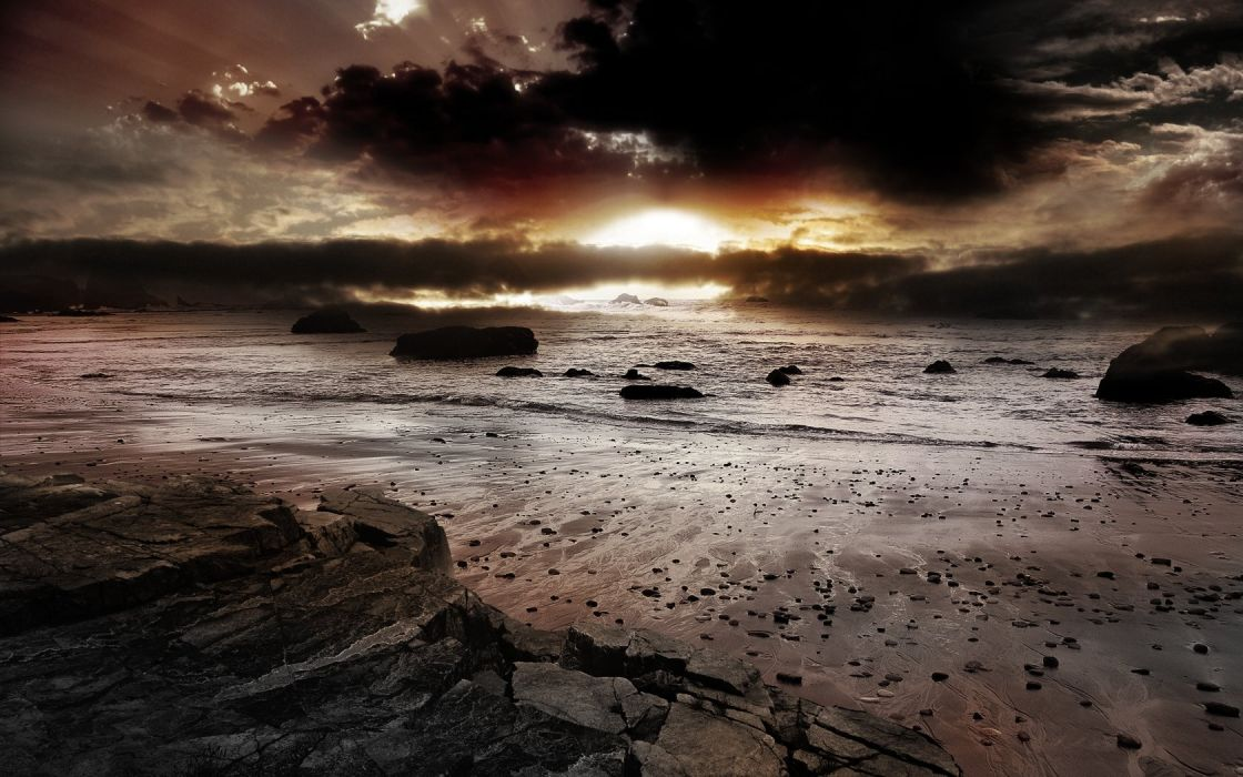 sunset sunrise clouds landscapes rocks beaches wallpaper