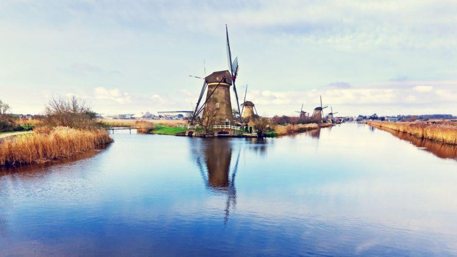 water fields windmills reflections wallpaper
