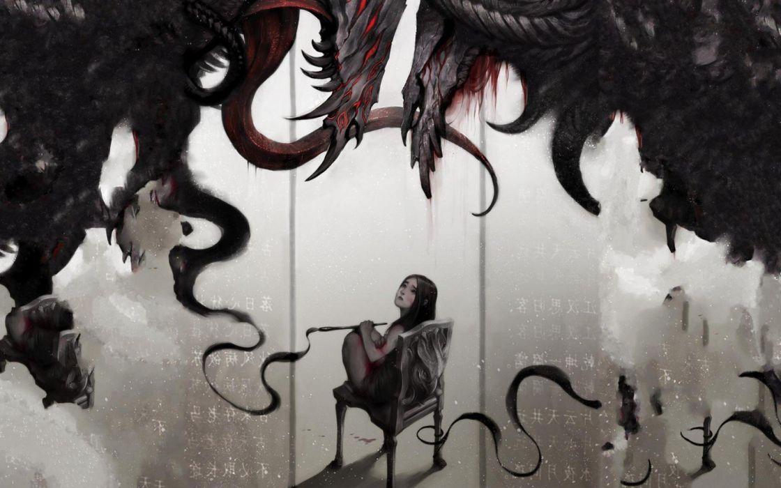 women horror creepy black dark monsters blood darkness lonely artist wallpaper