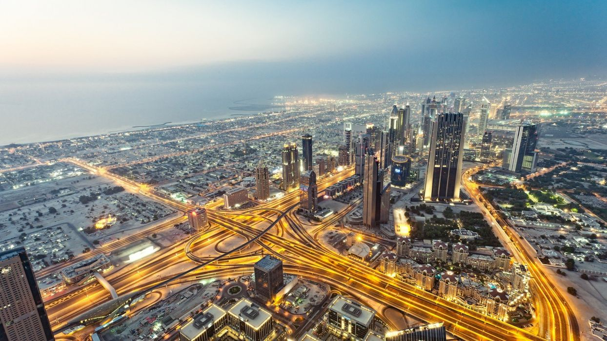 water ocean cityscapes lights cars buildings Dubai glowing skyscrapers cities Burj Khalifa man-made places wallpaper