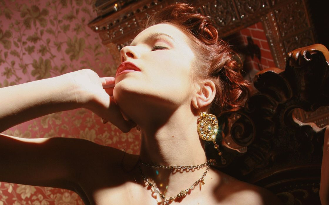women redheads models Met-Art magazine shadows earrings Ulya I closed eyes arms raised red lips wallpaper