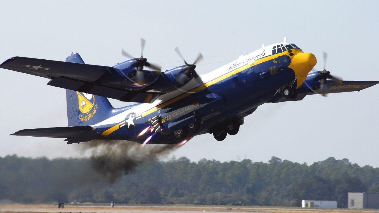 aircraft C-130 Hercules blue angels wallpaper