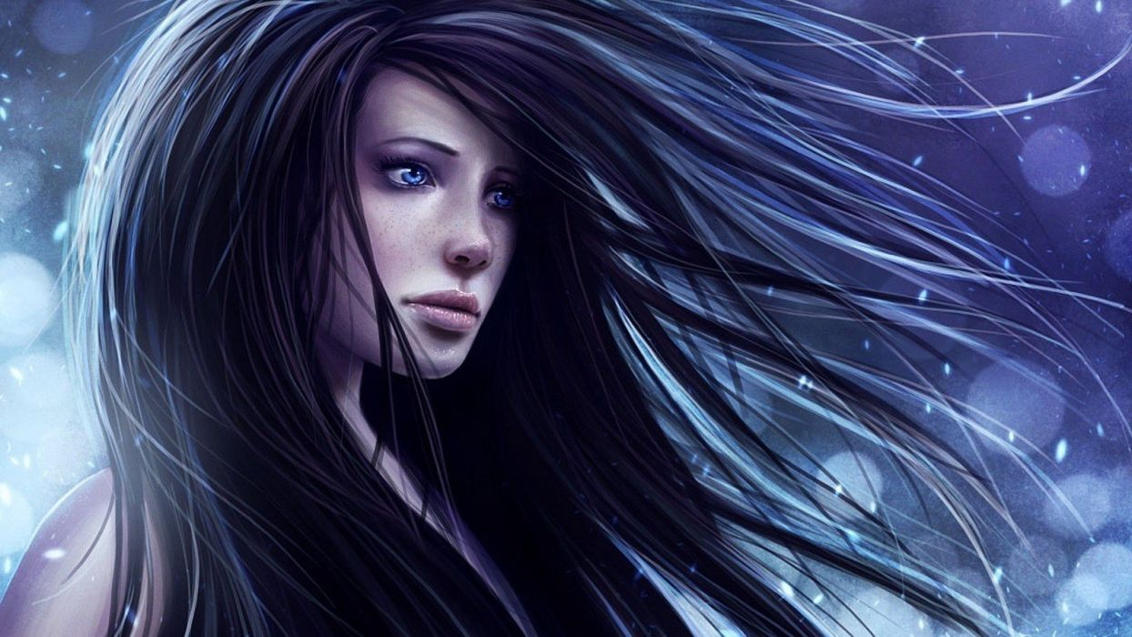 brunettes abstract blue eyes long hair freckles wallpaper