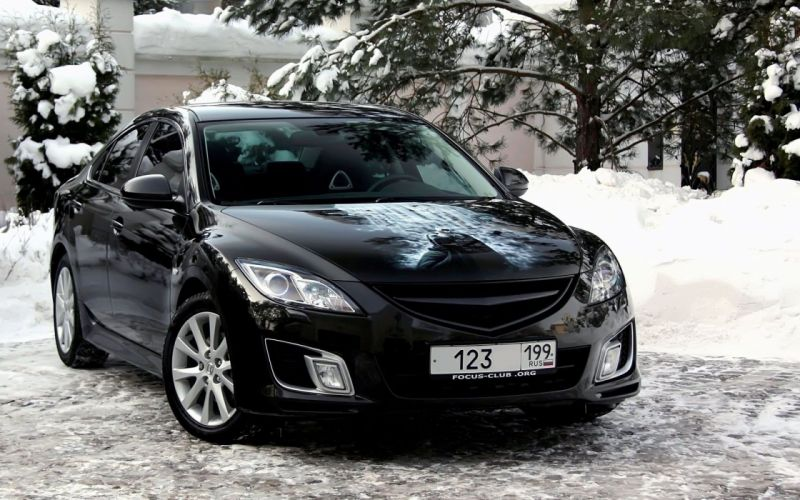 winter snow black cars Mazda vehicles Mazda 6 Mazda Atenza front angle view wallpaper