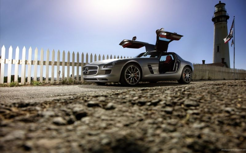 cars lighthouses vehicles wheels sports cars Mercedes-Benz SLS AMG luxury sport cars Gull-wing door wallpaper