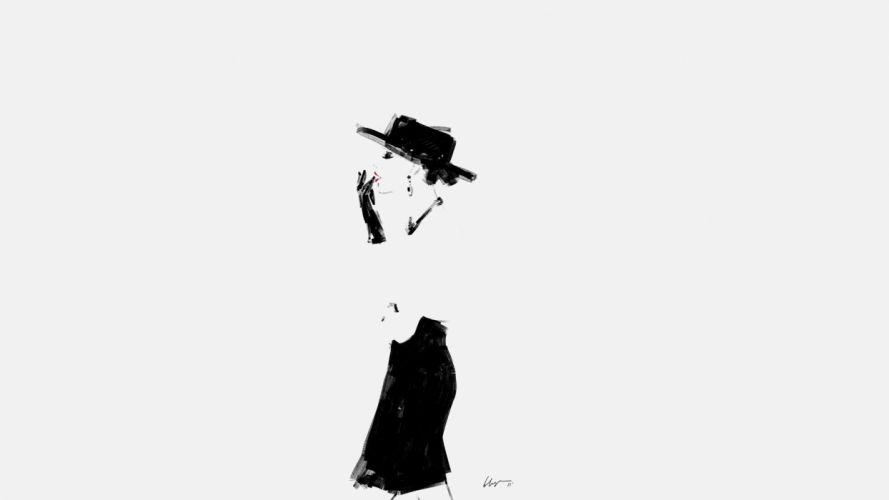 women white vintage vectors illustrations Floyd Grey wallpaper