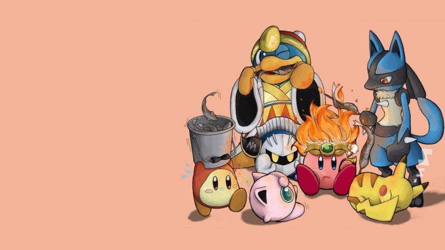 Kirby Pokemon video games Pikachu King Dedede camping simple background Lucario Jigglypuff Metaknight Super Smash Brothers Waddle Dee wallpaper