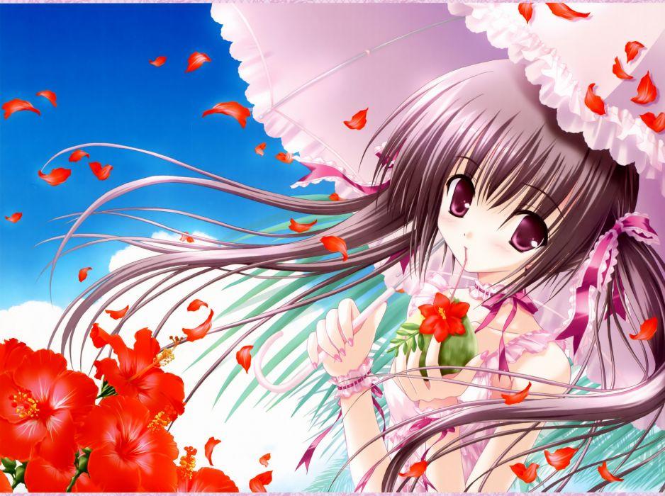 brunettes flowers ribbons anime umbrellas pink eyes flower petals Tinkle Illustrations anime girls wallpaper