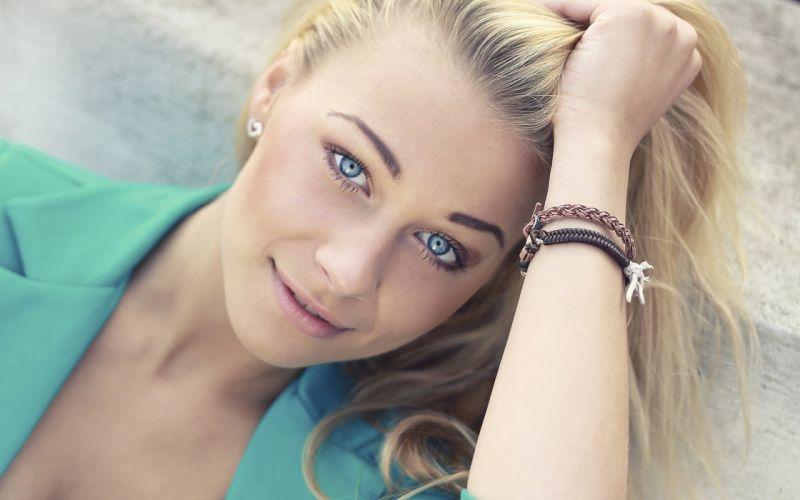 blondes women blue eyes faces wallpaper