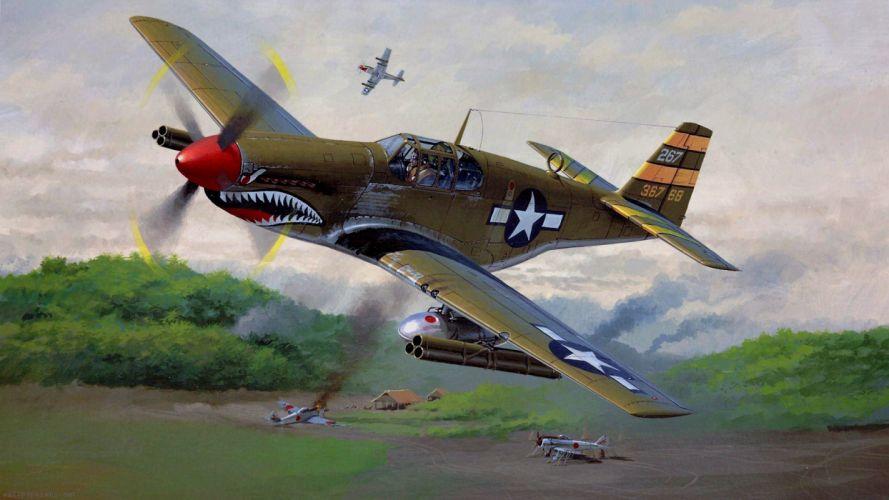 airplanes Japanese widescreen P-51 Mustang Nicholas Trugdian wallpaper