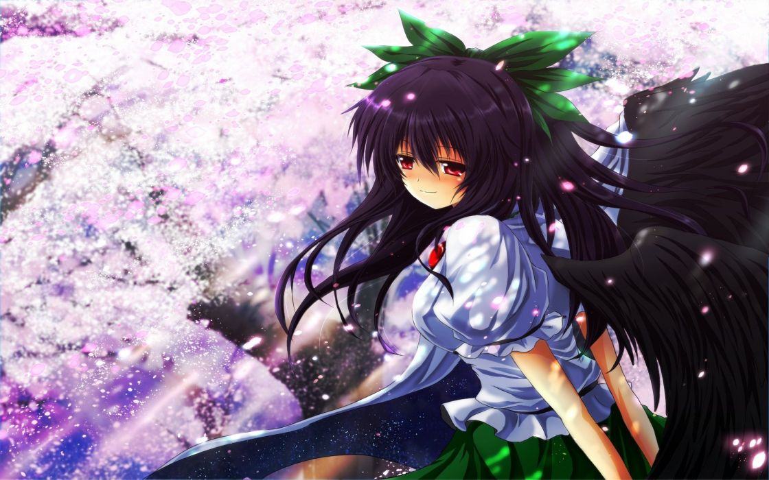 video games Touhou wings outer space cherry blossoms trees skirts long hair outdoors red eyes sunlight smiling blush bows capes Reiuji Utsuho flower petals hands behind back anime girls third eye looking back hair ornaments bangs black hair dark wings Nek wallpaper