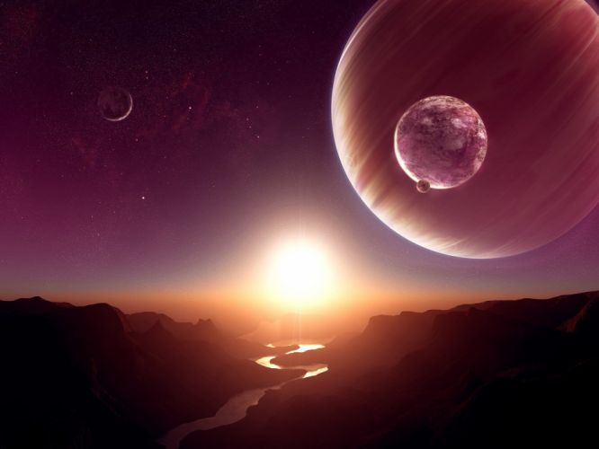 outer space horizon planets science fiction rivers moons wallpaper