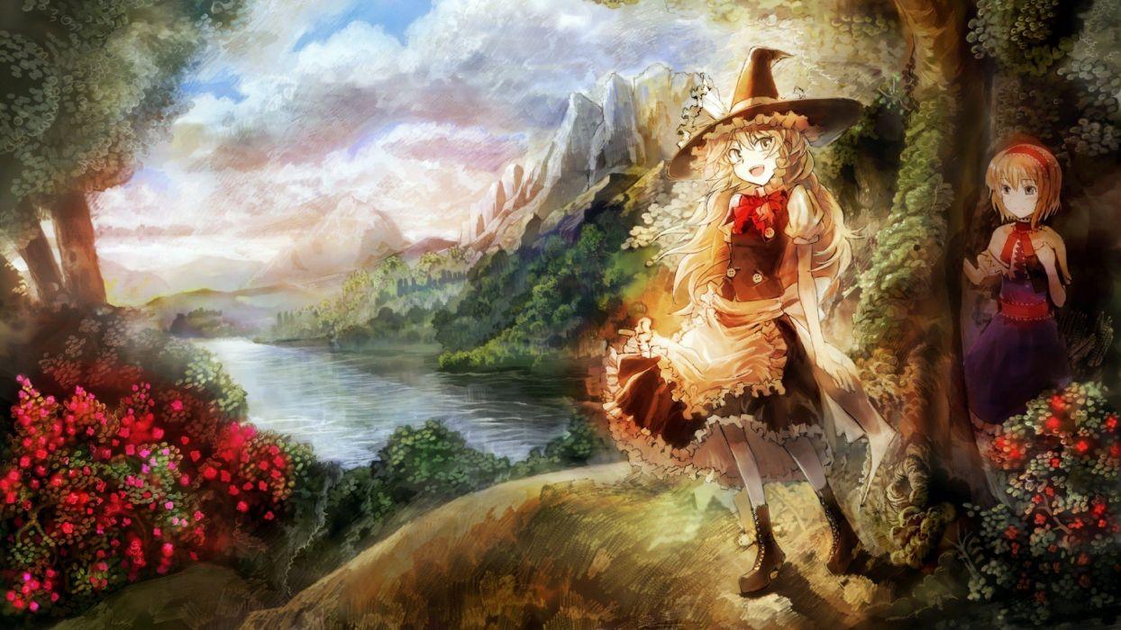 Touhou Kirisame Marisa artwork Alice Margatroid hats anime girls wallpaper