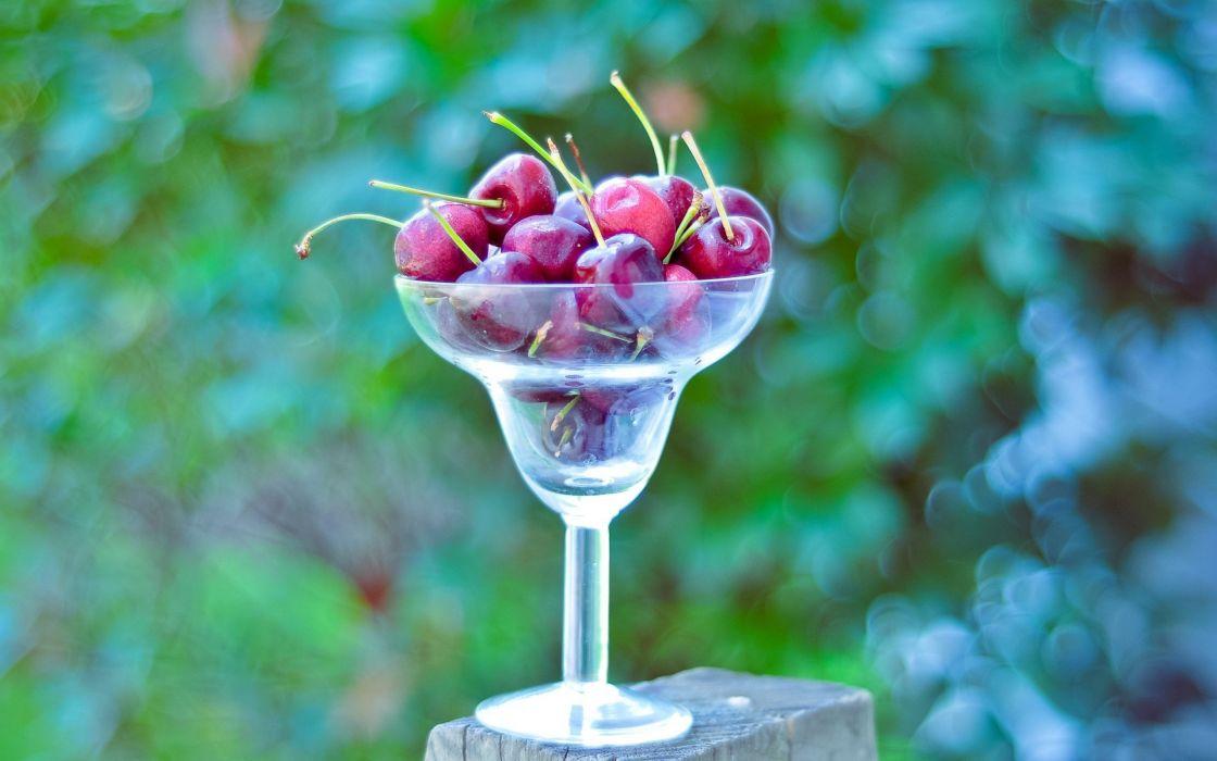 nature glass cherries macro depth of field wallpaper