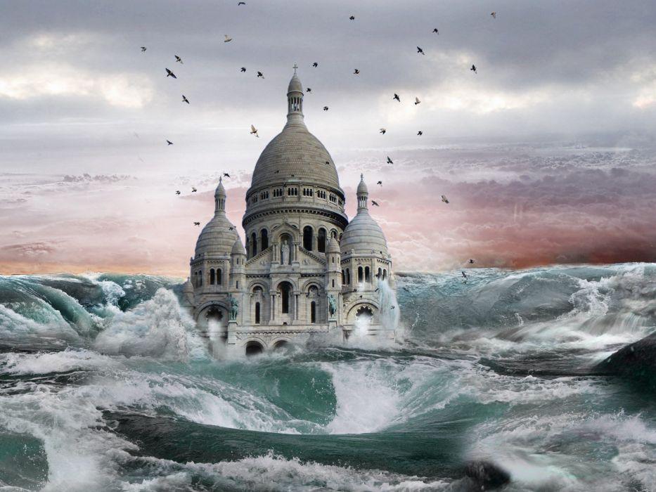 castles digital art photo manipulation sea wallpaper