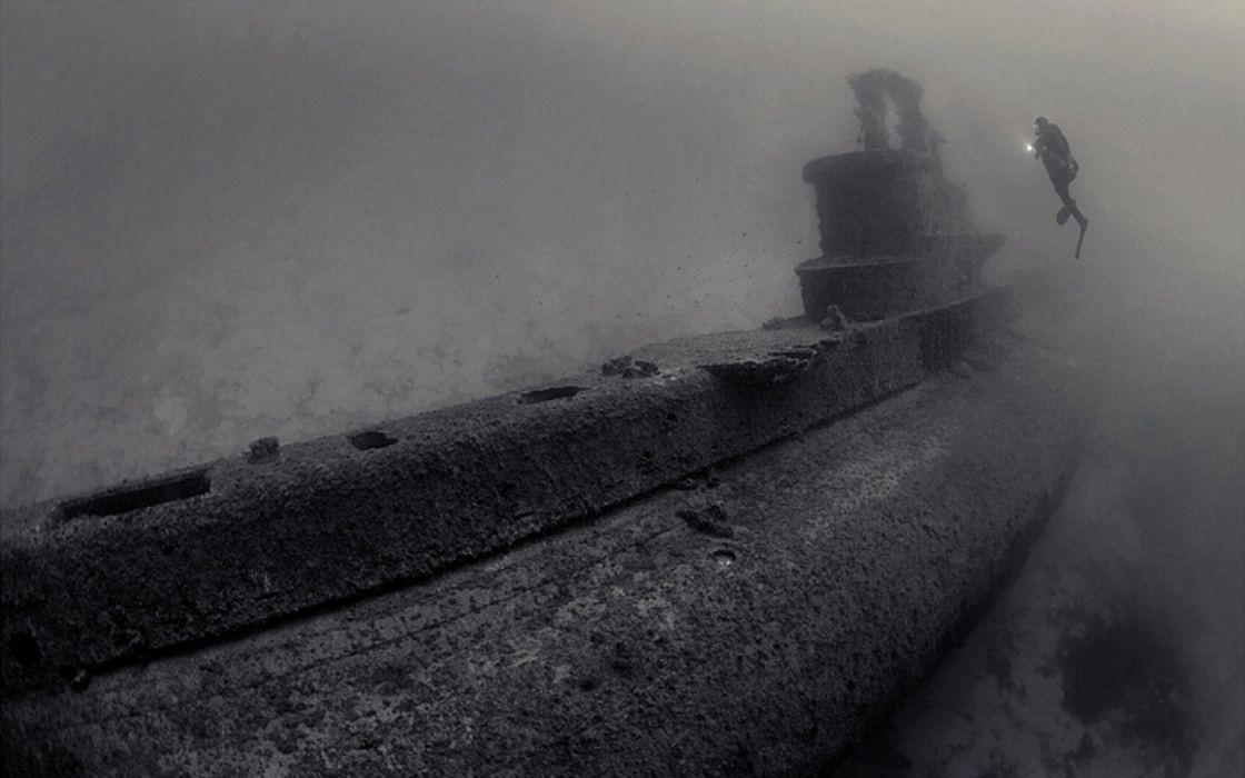 submarine shipwrecks underwater wallpaper